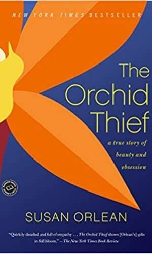 Book cover of The Orchid Thief: A True Story of Beauty and Obsession by Susan Orlean. Has a bright orange flower with a blue background.