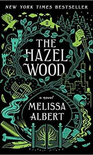 Book cover of The Hazel Wood by Melissa Albert. Has an very detailed imagery of a gate that goes up to a castle and forest. This image has a lot of added images such as a coffee cup, city scape, etc.
