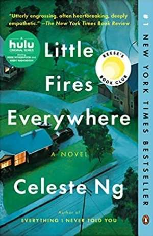 Book cover of Little Fires Everywhere by Celeste NG. Cover features a house in a quiet neighborhood with winding streets around it.