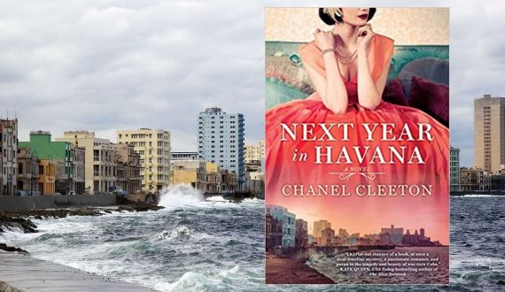 Image of the shoreline in Cuba with the blog post's book on top of the image.
